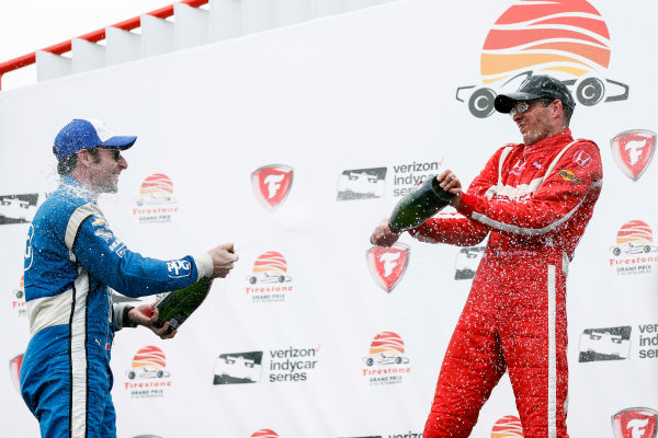 2017 Verizon IndyCar Series - Firestone Grand Prix of St. Petersburg St. Petersburg, FL USA Sunday 12 March 2017 Sebastien Bourdais , Simon Pagenaud  celebrating in victory lane with champagne  World Copyright:Sam Cobb/LAT Images ref: Digital Image cobb-stpete-170312-4753