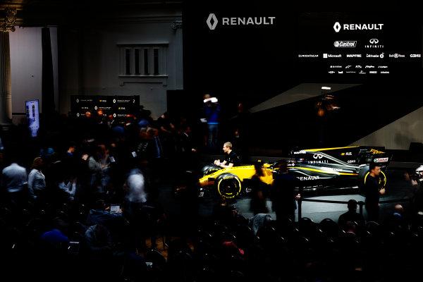 Renault  RS17  Formula 1 Launch. The Lindley Hall, London, UK. Tuesday 21 February 2017. Media gather around the R.S.17. World Copyright: Glenn Dunbar/LAT Images Ref: _X4I9962