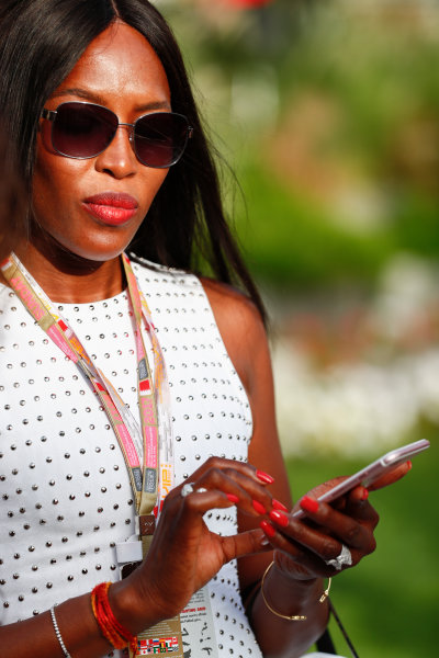Bahrain International Circuit, Sakhir, Bahrain.  Sunday 16 April 2017. Naomi Campbell. World Copyright: Sam Bloxham/LAT Images ref: Digital Image _J6I1909