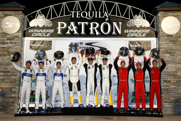 2017 IMSA WeatherTech SportsCar Championship Mobil 1 Twelve Hours of Sebring Sebring International Raceway, Sebring, FL USA Saturday 18 March 2017 66, Ford, Ford GT, GTLM, Joey Hand, Dirk Muller, Sebastien Bourdais, 3, Chevrolet, Corvette C7.R, GTLM, Antonio Garcia, Jan Magnussen, Mike Rockenfeller, 62, Ferrari, Ferrari 488 GTE, GTLM, Toni Vilander, Giancarlo Fisichella, James Calado World Copyright: Michael L. Levitt/LAT Images ref: Digital Image levitt_seb_0317-31772