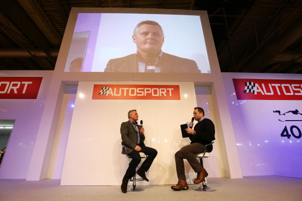 Autosport International Exhibition. National Exhibition Centre, Birmingham, UK. Saturday 14 January 2017. Johnny Herbert is interviewed by Henry Hope-Frost on the Autosport Stage. World Copyright: James Roberts/Ebrey/LAT Photographic. Ref: JR2_7937