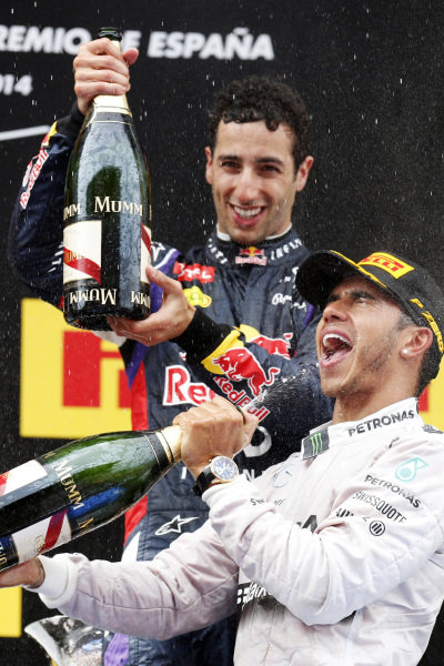 Circuit de Catalunya, Barcelona, Spain. Sunday 11 May 2014. Lewis Hamilton, Mercedes AMG, 1st Position, sprays the victory Champagne. World Copyright: Alastair Staley/LAT Photographic. ref: Digital Image _79P1858