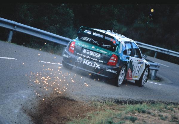 2003 World Rally Championship, Catalunya, Spain, Rd13. 23 - 26 October 2003.Didier Auriol, Skoda. ActionWorld Copyright: McKlein/LAT PhotographicRef: Transparency 03_WRC_Rd13_09