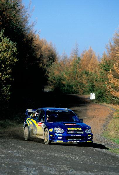 2003 World Rally ChampionshipRally of Great Britain, Wales. 6th - 9th November 2003.Petter Solberg / Phillip MIlls, Subaru Impreza WRC 2003. ActionWorld Copyright: McKlein/LATref: 35mm Image WRC_GB_03 jpg