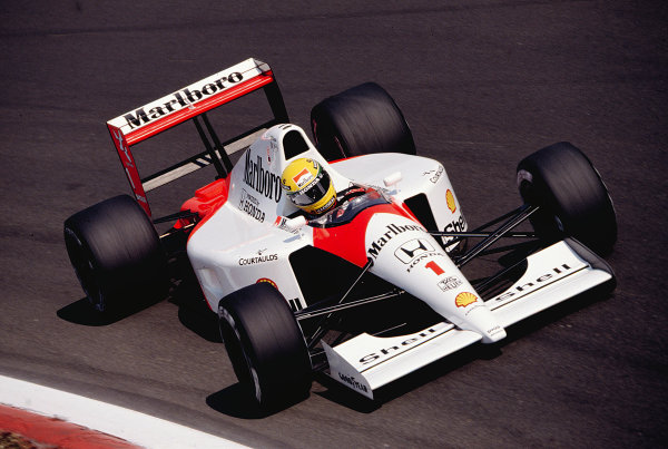 1991 Italian Grand Prix.Monza, Italy.6-8 September 1991.Ayrton Senna (McLaren MP4/6 Honda) 2nd position.Ref-91 ITA 29.World Copyright - LAT Photographic
