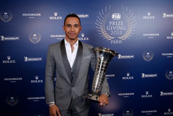 2015 FIA Prize Giving Paris, France Friday 4th December 2015 Lewis Hamilton  Photo: Copyright Free FOR EDITORIAL USE ONLY. Mandatory Credit: FIA / Jean Michel Le Meur  / DPPI ref: _ML23288