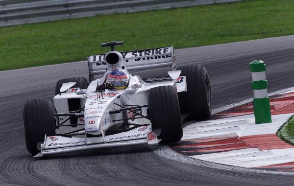 Sepang, Kuala Lumpur, Malaysia.20-22 October 2000.Jacques Villeneuve (B.A R. 002 Honda) 5th position. World Copyright - Etherington/LAT Photographicref:18mb digital image - Race