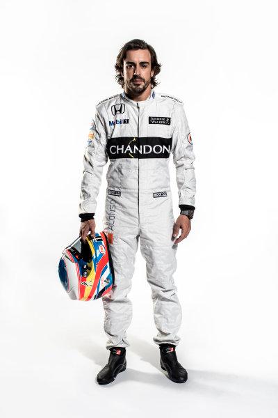 McLaren Honda MP4-31 Reveal. Woking, UK. Thursday 18 February 2016. Fernando Alonso, McLaren. Photo: McLaren (Copyright Free FOR EDITORIAL USE ONLY) ref: Digital Image Fernando Alonso Full Length Portrait 2