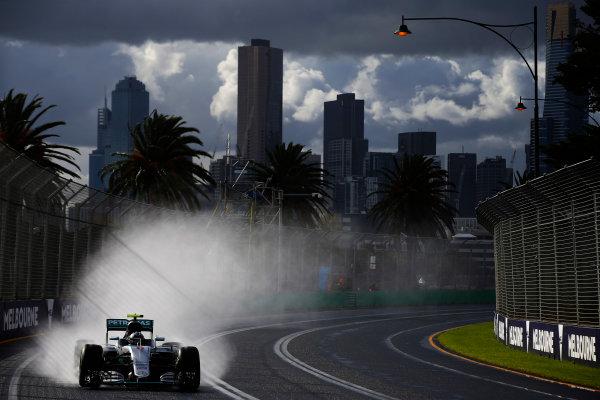Albert Park, Melbourne, Australia. Friday 18 March 2016. Nico Rosberg, Mercedes F1 W07 Hybrid. World Copyright: Charles Coates/LAT Photographic ref: Digital Image _W7W6839