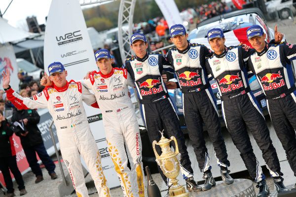 2015 World Rally Championship, Round 13, Rally of Wales GB, 12th - 15th November, 2015 Sebastien Ogier, Kris Meeke, Andreas Mikkelsen, podium  Worldwide Copyright: McKlein/LAT