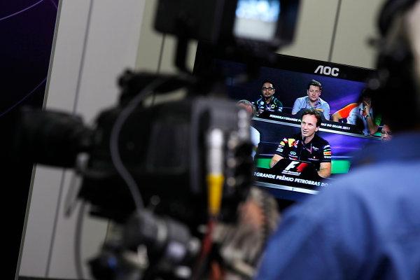 Interlagos, Sao Paulo, Brazil. 25th November 2011. Christian Horner, Team Principal, Red Bull Racing. Portrait. Press Conferences.  World Copyright:Charles Coates/LAT Photographic ref: Digital Image _X5J0384