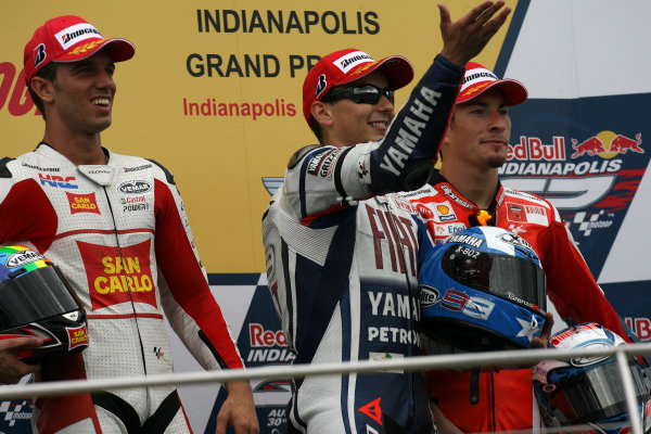 Indianapolis Grand Prix, Indianapolis, USA.28th - 30th August 2009.De Angelis Lorenzo and Hayden on the podium.World Copyright: Martin Heath/LAT Photographic ref: Digital Image SE5K6593