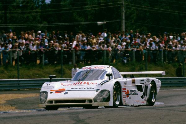 1989 Le Mans 24 HoursLe Mans, France. 10th - 11th June.Fermin Velez/Luigi Taverna/Nick Adams, Spice SE88C-Ford, retired, action.World Copyright: LAT Photographicref: 35mm Colour Transparency.