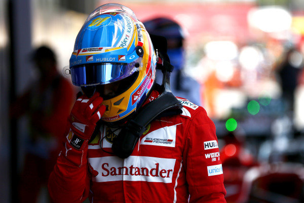Circuit de Catalunya, Barcelona, Spain. Saturday 10 May 2014. Fernando Alonso, Ferrari, in Parc Ferme. World Copyright: Andy Hone/LAT Photographic. ref: Digital Image _ONZ0895