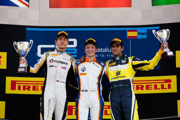 2014 GP2 Series Round 2 - Race 1. Circuit de Catalunya, Barcelona, Spain. Saturday 10 May 2014. Johnny Cecotto (VEN, Trident), 1st, Jolyon Palmer (GBR, DAMS), 2nd & Felipe Nasr (BRA, Carlin), 3rd Photo: Malcolm Griffiths/GP2 Series Media Service. ref: Digital Image A50A3185