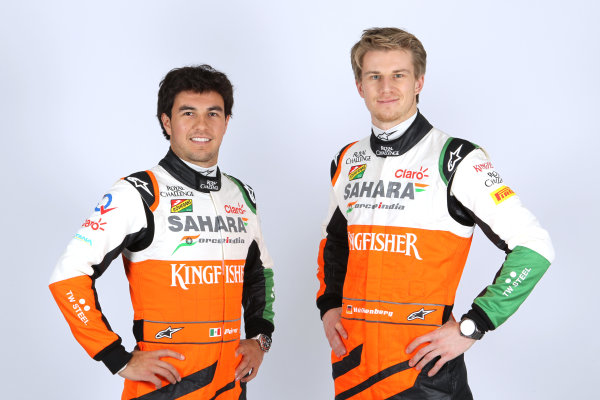 Force India VJM07 Online Launch Images 23 January 2014 Sergio Perez & Nico Hulkenberg, Force India Photo: Force India (Copyright Free FOR EDITORIAL USE ONLY) ref: Digital Image jm1423ja74