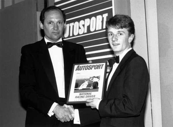 1989 Autosport Awards. Cafe Royal, London, England. 4th January 1990. Ron Dennis presents the National Driver of the Year award to Allan McNish, portrait.  World Copyright: LAT Photographic. Ref: B/W Print.