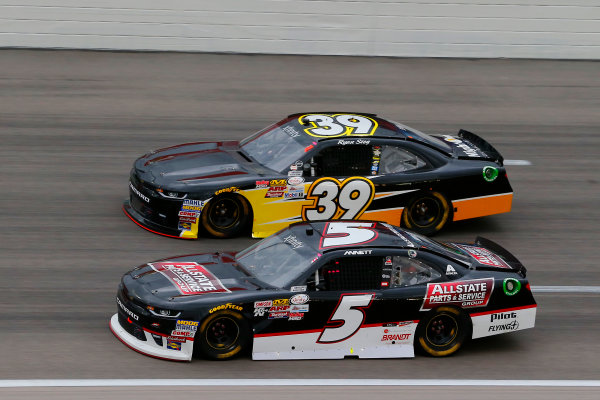 NASCAR XFINITY Series Kansas Lottery 300 Kansas Speedway, Kansas City, KS USA Saturday 21 October 2017 Michael Annett, Allstate Parts & Service Group Chevrolet Camaro and Ryan Sieg, RSS Racing Chevrolet Camaro World Copyright: Russell LaBounty LAT Images