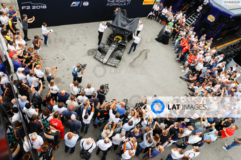 Autodromo Nazionale di Monza, Italy. Thursday 31 August 2017 The new 2018 F2 car is unveiled in the paddock. Photo: Steven Tee/FIA Formula 2 ref: Digital Image _R3I1964