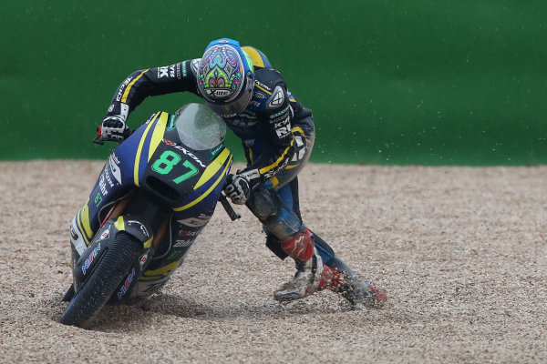 2017 Moto2 Championship - Round 13 Misano, Italy. Sunday 10 September 2017 Remy Gardner, Tech 3 Racing after his crash World Copyright: Gold and Goose / LAT Images ref: Digital Image 8202