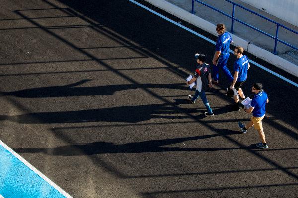 2017 GP3 Series Round 7.  Circuito de Jerez, Jerez, Spain. Thursday 5 October 2017. Ryan Tveter (USA, Trident), Dorian Boccolacci (FRA, Trident), Santino Ferrucci (USA, Trident). Photo: Zak Mauger/GP3 Series Media Service. ref: Digital Image _X0W9314