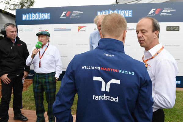 Sir Jackie Stewart (GBR), Andrew Westacott (AUS) Australian GP CEO and Valtteri Bottas (FIN) Williams at Formula One World Championship, Rd1, Australian Grand Prix, Preparations, Albert Park, Melbourne, Australia, Thursday 12 March 2015.