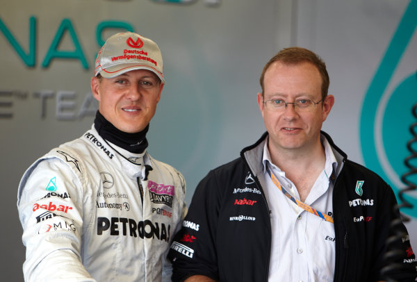 Silverstone, Northamptonshire, England 8th July 2011 Michael Schumacher, Mercedes GP W02. Portrait.  World Copyright: Steve Etherington/LAT Photographic ref: Digital Image F72E9675