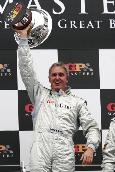 2006 Grand Prix Masters.Silverstone, England. 11th - 13th August.Eddie Cheever celebrates victory on the podium. Portrait.World Copyright: Drew Gibson/LAT Photographic.Ref: Digital Image Only.