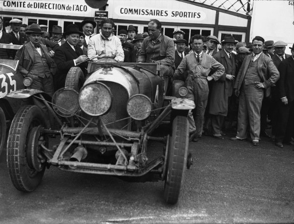 Le Mans, France. 16th - 17th June 1928. Woolf Barnato and Bernard Rubin (Bentley 4.5 litre), 1st position, portrait. World Copyright: LAT Photographic. Ref:  Autocar Glass Plate A9985.