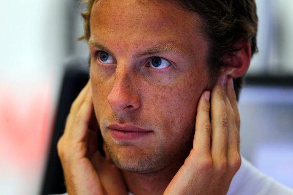 Spa-Francorchamps, Spa, Belgium25th August 2011.Jenson Button, McLaren MP4-26 Mercedes. Portrait. World Copyright: Steven Tee/LAT Photographicref: Digital Image _A8C5156