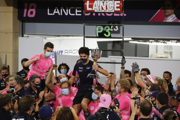 Lance Stroll, Racing Point, 3rd position, celebrates with his team