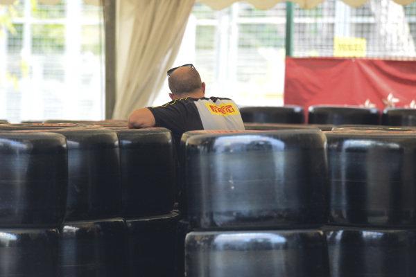 A Pirelli team member at work