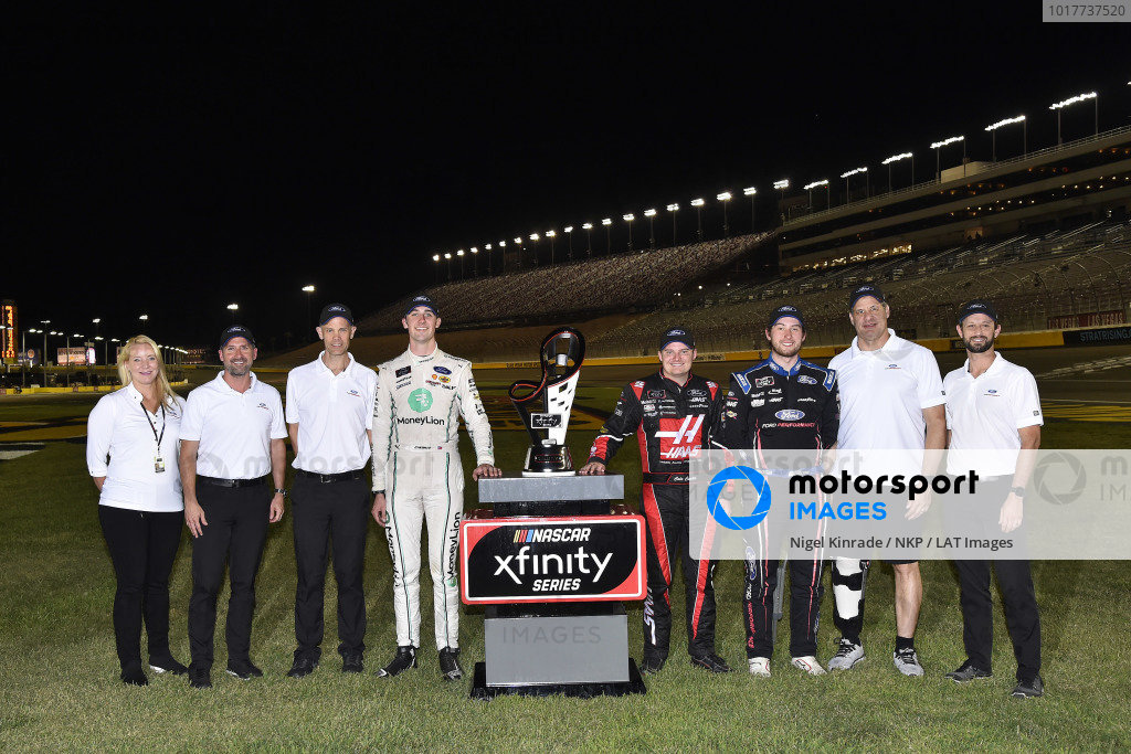 #22: Austin Cindric, Team Penske, Ford Mustang MoneyLion, #00: Cole Custer, Stewart-Haas Racing, Ford Mustang Haas Automation and #98: Chase Briscoe, Stewart-Haas Racing, Ford Mustang Ford Performance