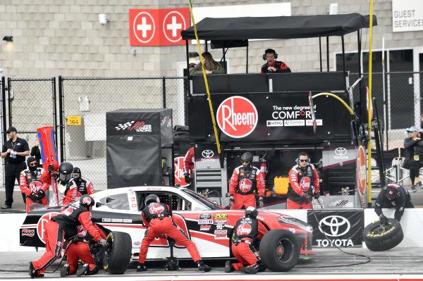 #20: Christopher Bell, Joe Gibbs Racing, Toyota Supra Rheem, makes a pit stop