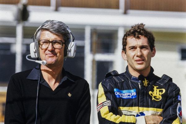 Ayrton Senna and Peter Warr.