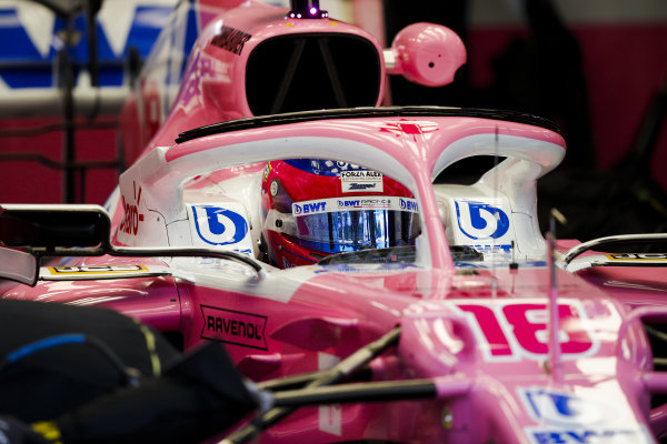 Lance Stroll, Racing Point RP20, in his cockpit