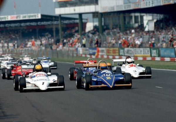 Ayrton Senna, West Surrey Racing, Ralt RT3/83 Toyota/Novamotor, leads Martin Brundle, Eddie Jordan Racing, Ralt RT3/83 - Toyota/Novamotor.
