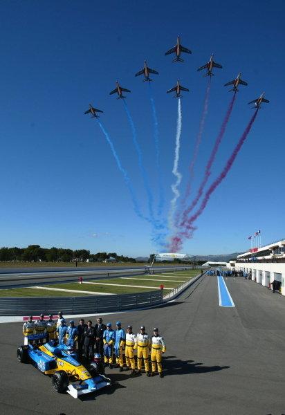 The French Air Force display team, the Patrouille de France, fly over the Renault launch.