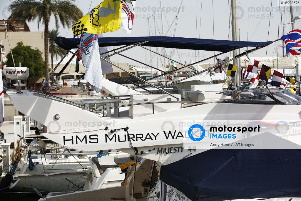 An HMS Murray Walker yacht in the harbour