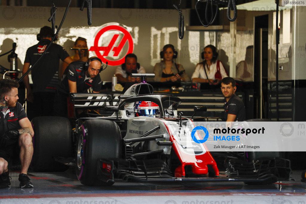 Pietro Fittipaldi, Haas F1 Team VF-18 Ferrari, exits the team's garage.