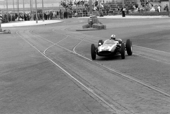 Race winner Jack Brabham (AUS) Cooper Climax T53. The Oporto street circuit was only used once; the tramlines, cobbled roads and numerous lamp-posts deemed too dangerous even in 1960. Portuguese Grand Prix, Oporto, Portugal, 14 August 1960.