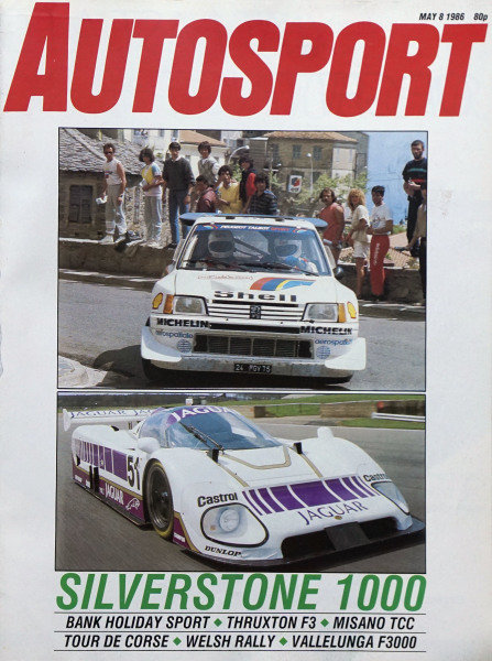 Cover of Autosport magazine, 8th May 1986