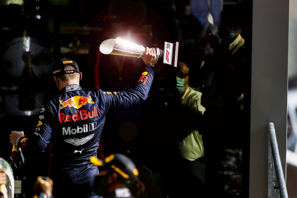 Max Verstappen, Red Bull Racing, 3rd position, leaves the podium with his trophy