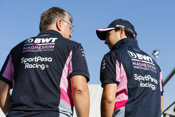 Otmar Szafnauer, Team Principal and CEO, Racing Point, and Sergio Perez, Racing Point