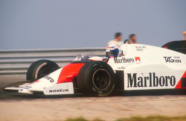 1984 Dutch Grand Prix.Zandvoort, Holland.24-26 August 1984.Alain Prost (McLaren MP4/2 TAG Porsche) 1st position.  Ref: 84HOL14. World Copyright - LAT Photographic