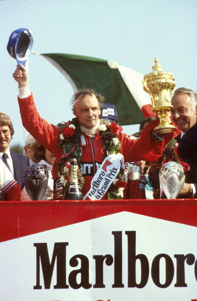 Brands Hatch, England.16-18 July 1982.Niki Lauda (McLaren Ford) 1st position on the podium.Ref-82 GB 29.World Copyright - LAT Photographic