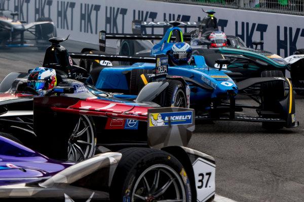 2016/2017 FIA Formula E Championship. Hong Kong ePrix, Hong Kong, China. Sunday 9 October 2016. Maro Engel (GER), Venturi, Spark-Venturi, Venturi VM200-FE-02, Nicolas Prost (FRA), Renault e.Dams, Spark-Renault, Renault Z.E 16.  Photo: Zak Mauger/LAT/Formula E ref: Digital Image _X0W2457