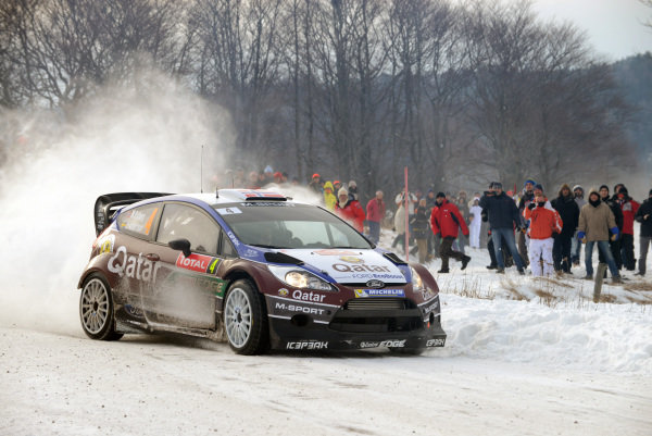 Mads Ostberg (NOR) and Jonas Andersson (SWE), Ford Fiesta RS WRC on stage 2. FIA World Rally Championship, Rd1, Rally Monte Carlo, Day One, Monte Carlo, 16 January 2013.