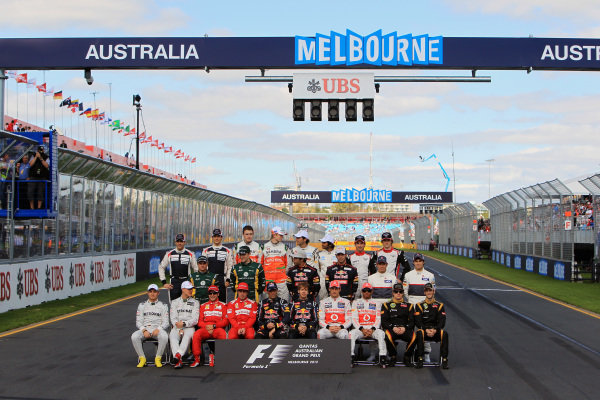 The 2012 FIA F1 driver group photo. Formula One World Championship, Rd1, Australian Grand Prix, Race, Albert Park, Melbourne, Australia, Sunday 18 March 2012.