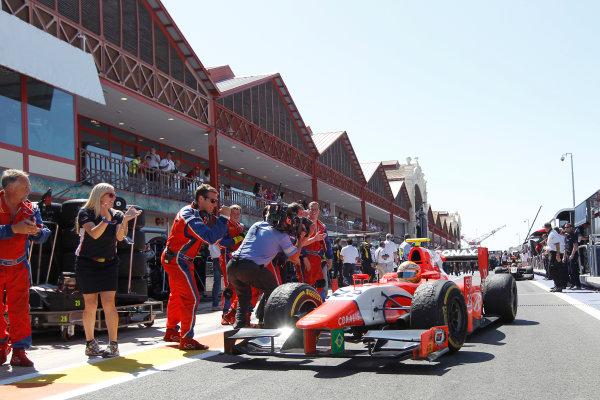 Valencia Street Circuit, Valencia, Spain.  24th June 2012. Sunday Race. Luiz Razia (BRA, Arden International) celebrates his victory. Photo: Andrew Ferraro/GP2 Media Service. Ref: Digital Image _Q0C9914.jpg